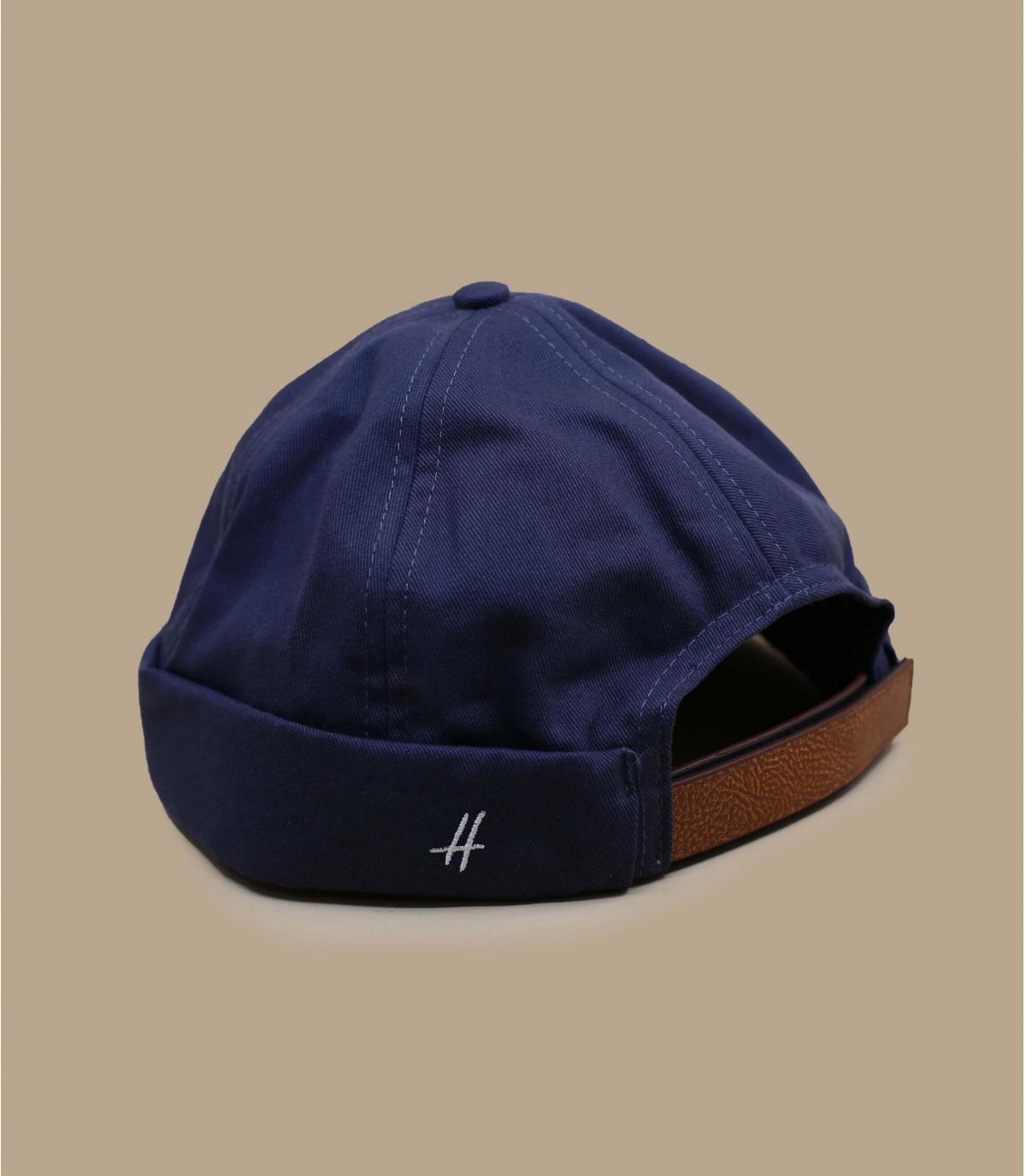 bonnet docker bleu cuir