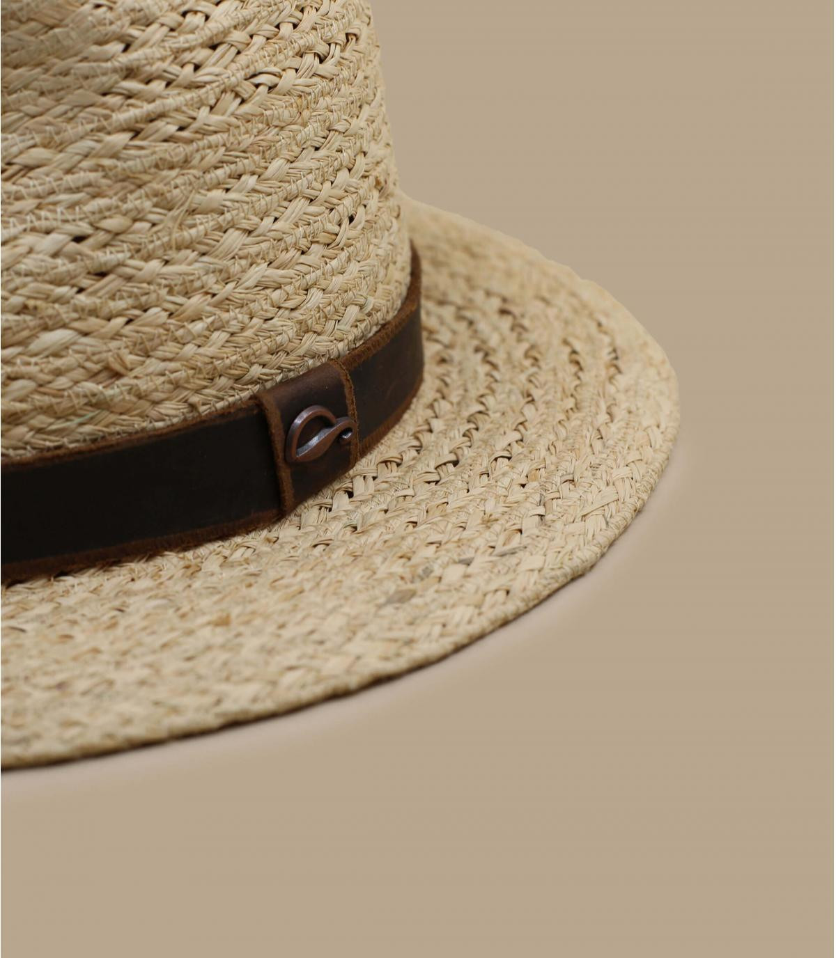 chapeau raffia lien cuir