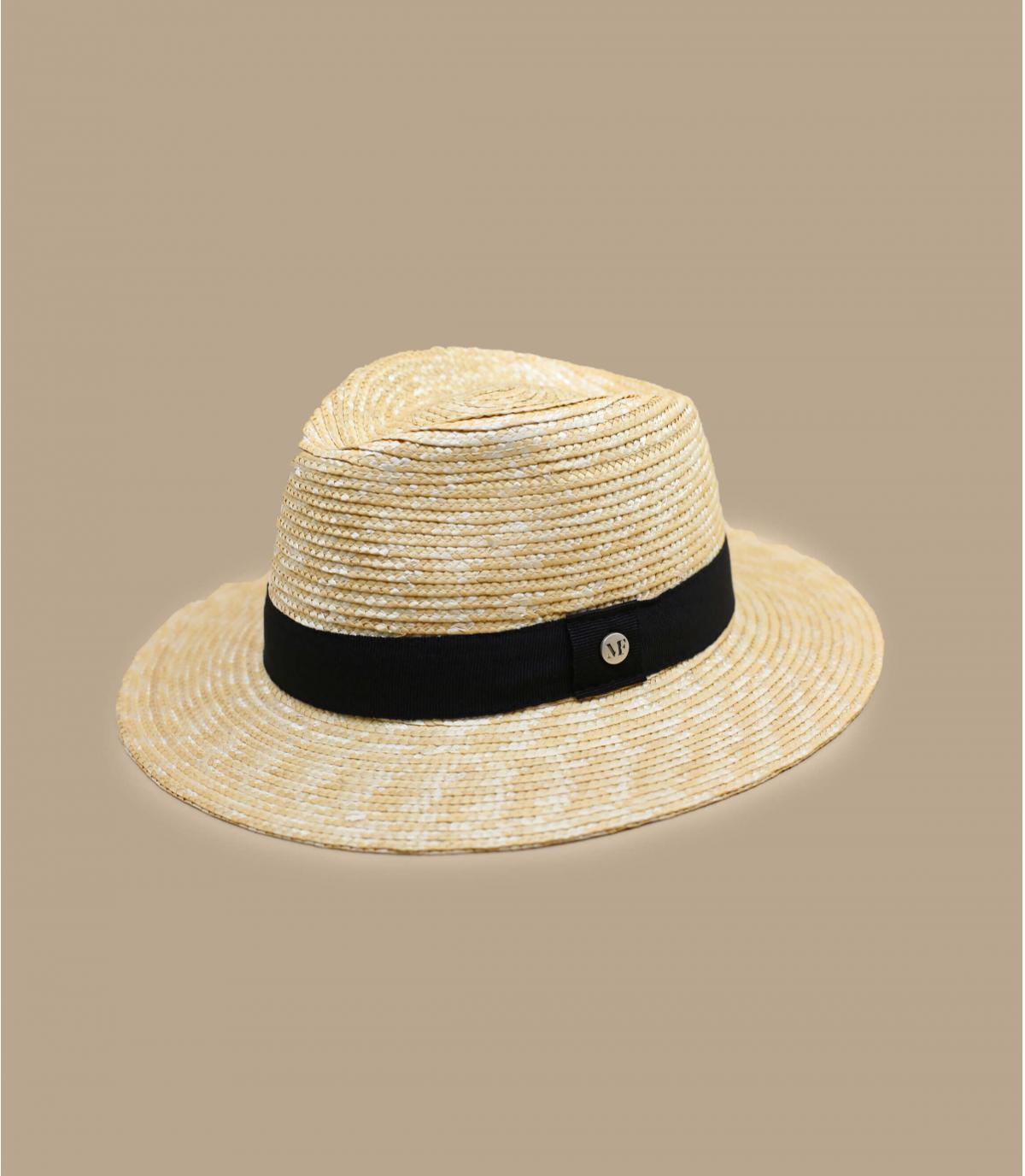 chapeau paille galon noir