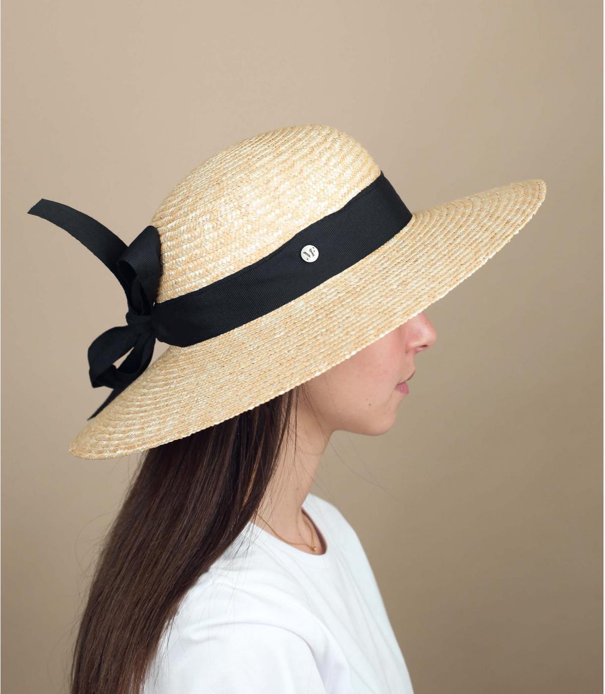 chapeau paille femme noir
