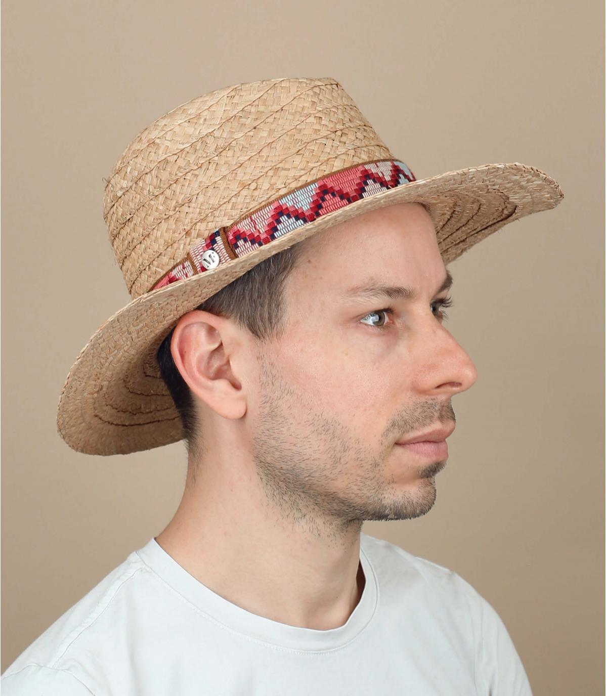 chapeau paille galon motif