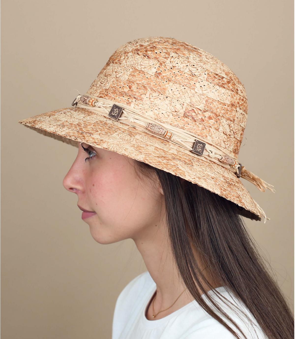 chapeau cloche paille perles