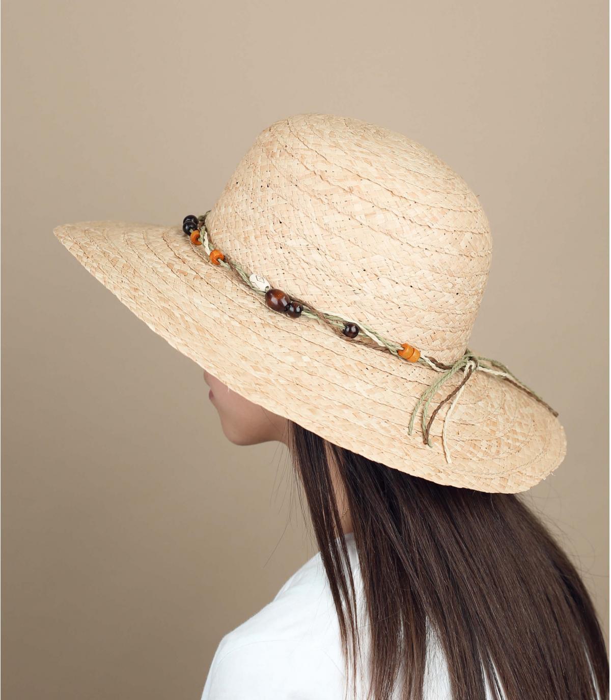 chapeau paille perles
