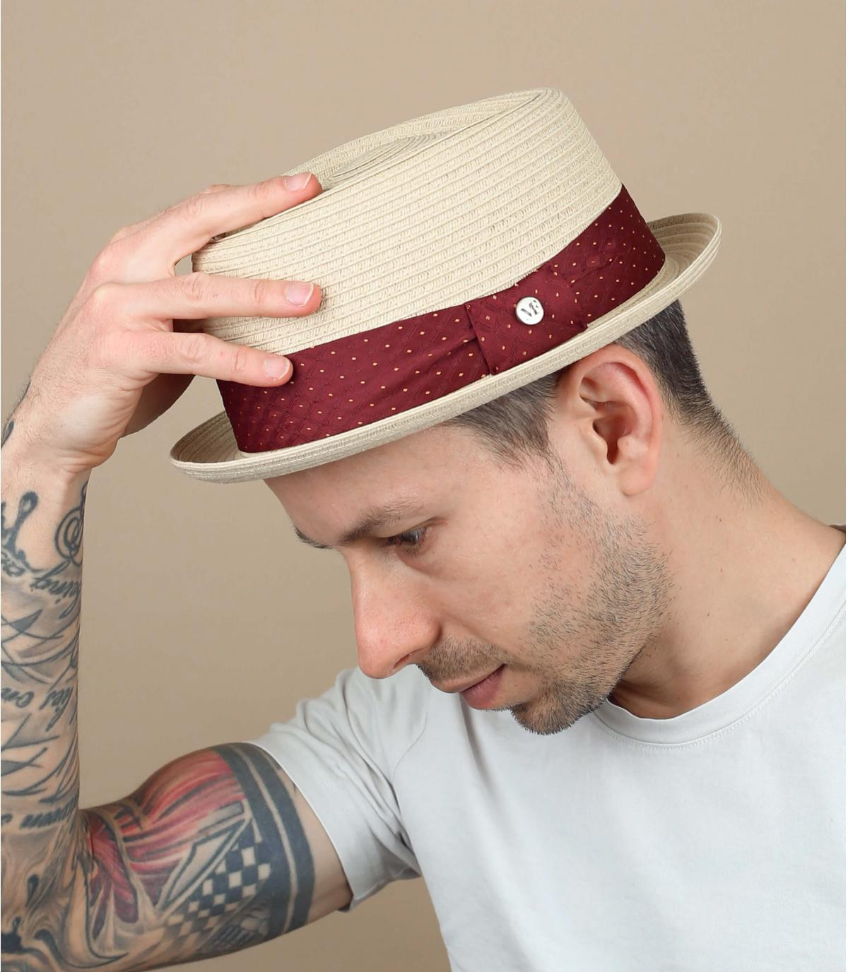 chapeau paille galon pois rouge