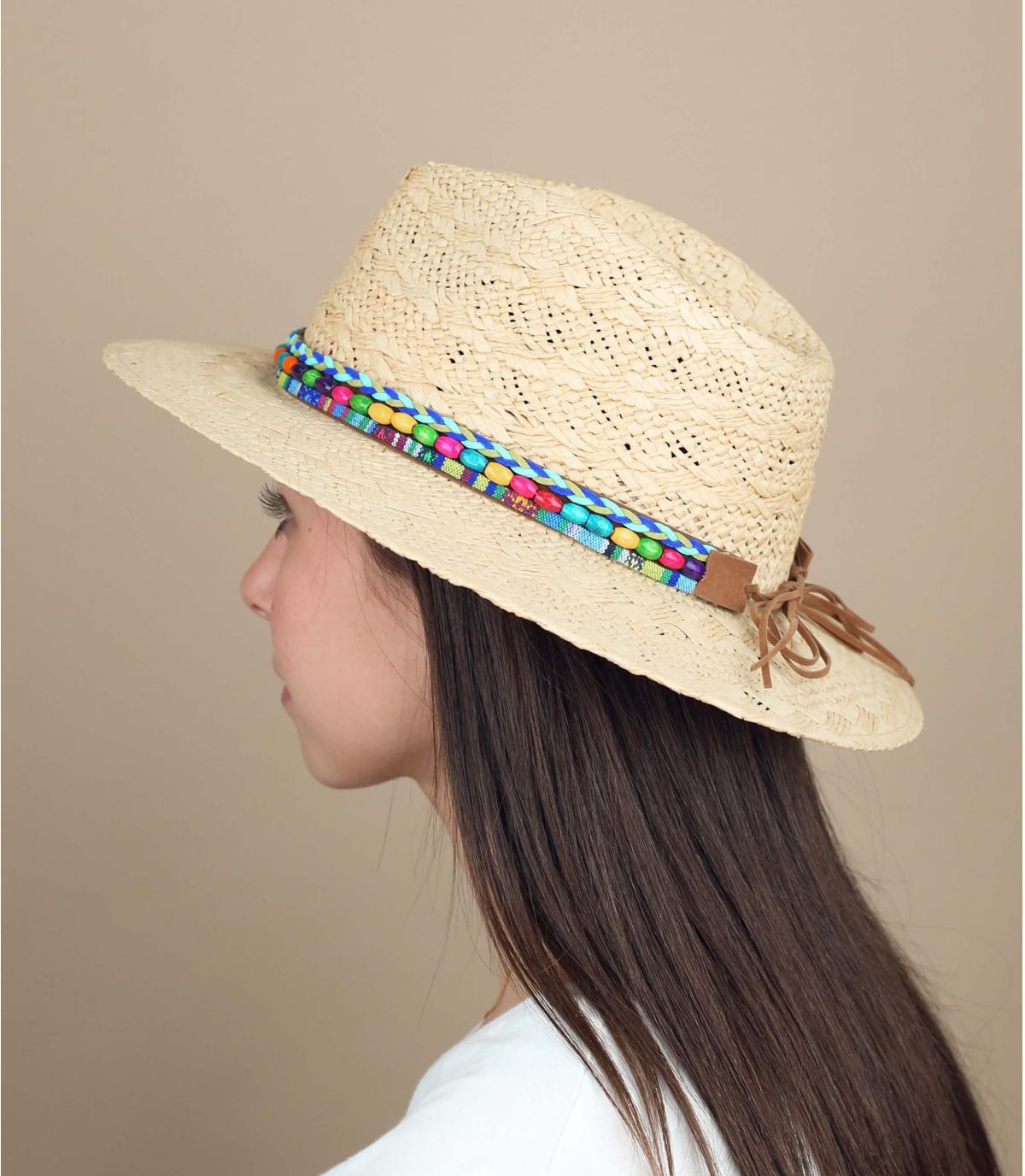 chapeau paille perles couleur