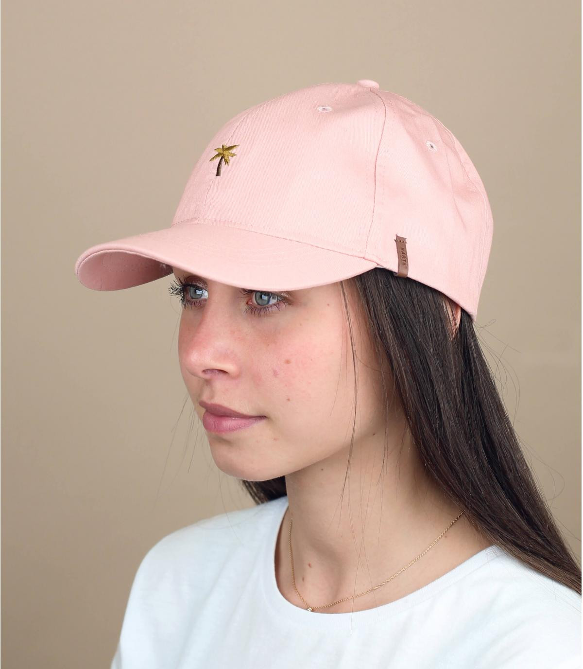 casquette rose broderie palmier