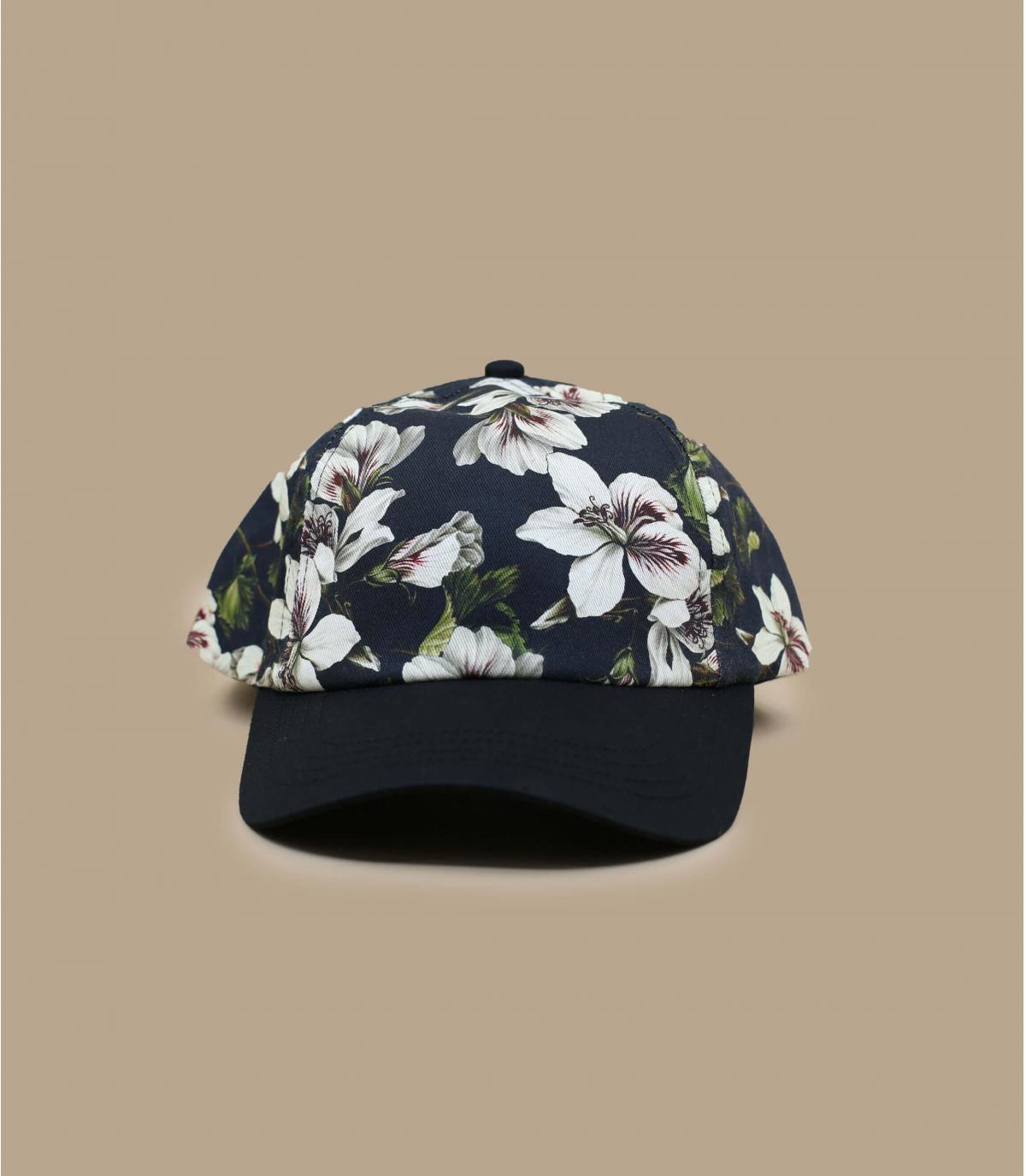 casquette fleurs noir