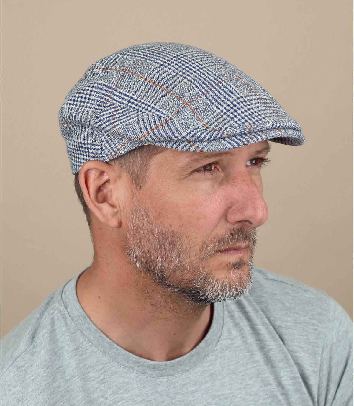 béret gris lin carreaux