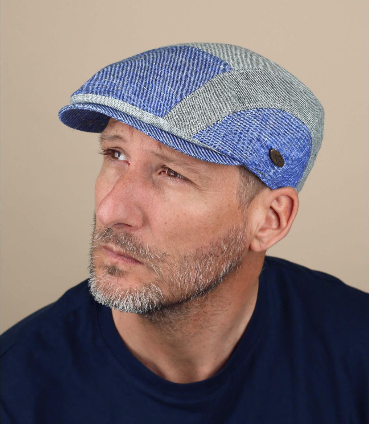 béret patchwork bleu gris