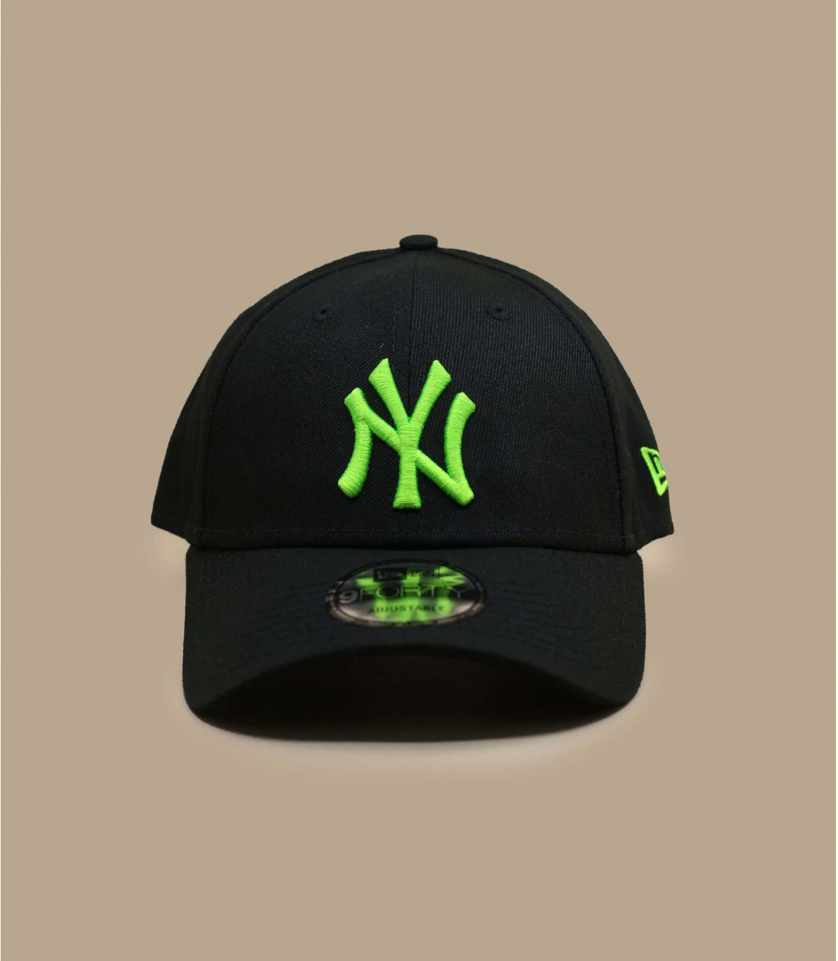 casquette NY noir vert fluo
