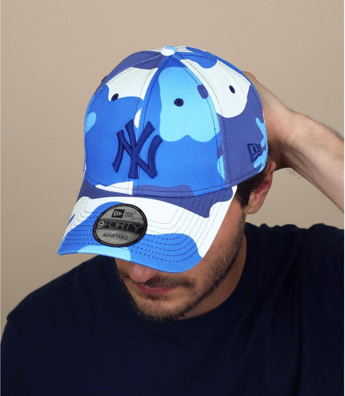 casquette NY camo bleu