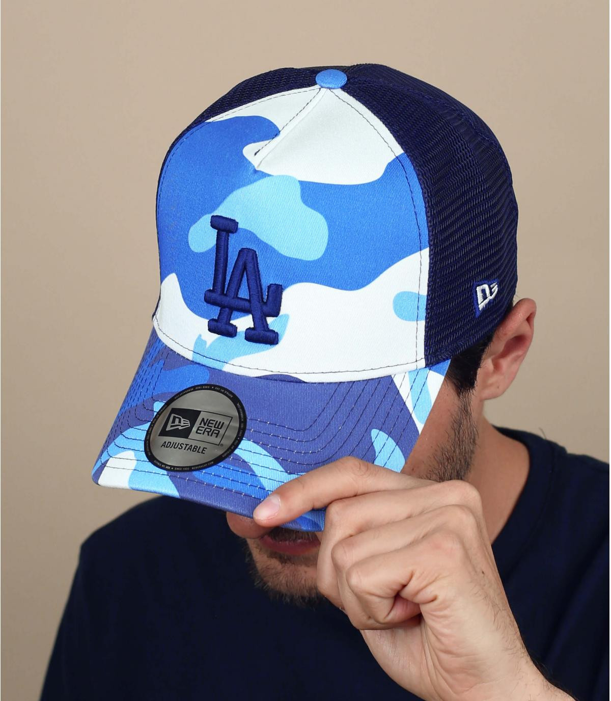 trucker camo bleu blanc
