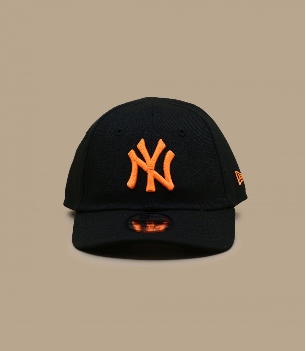 casquette bébé NY noir orange