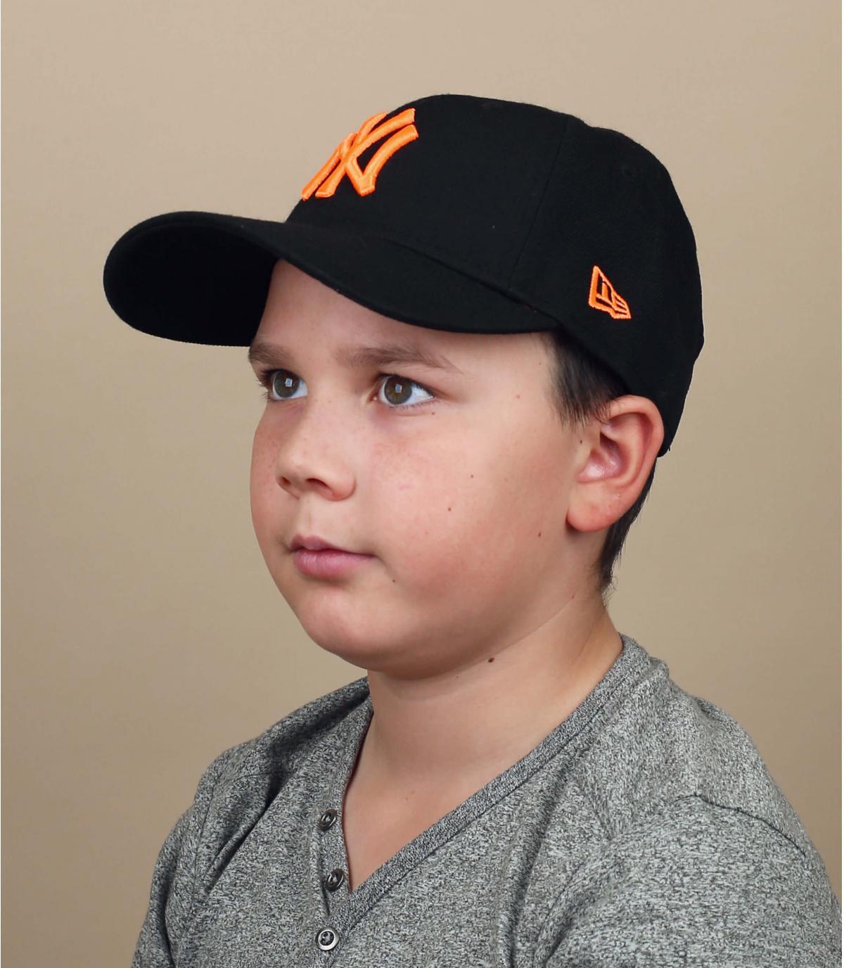 casquette enfant NY noir orange