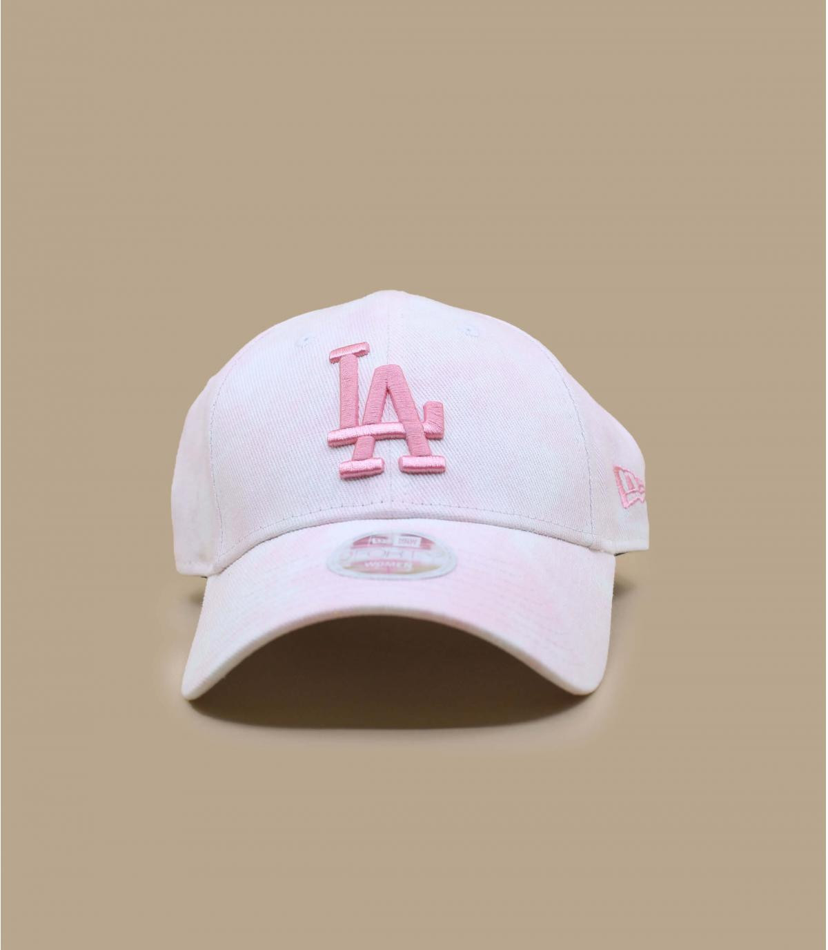 casquette LA blanc rose