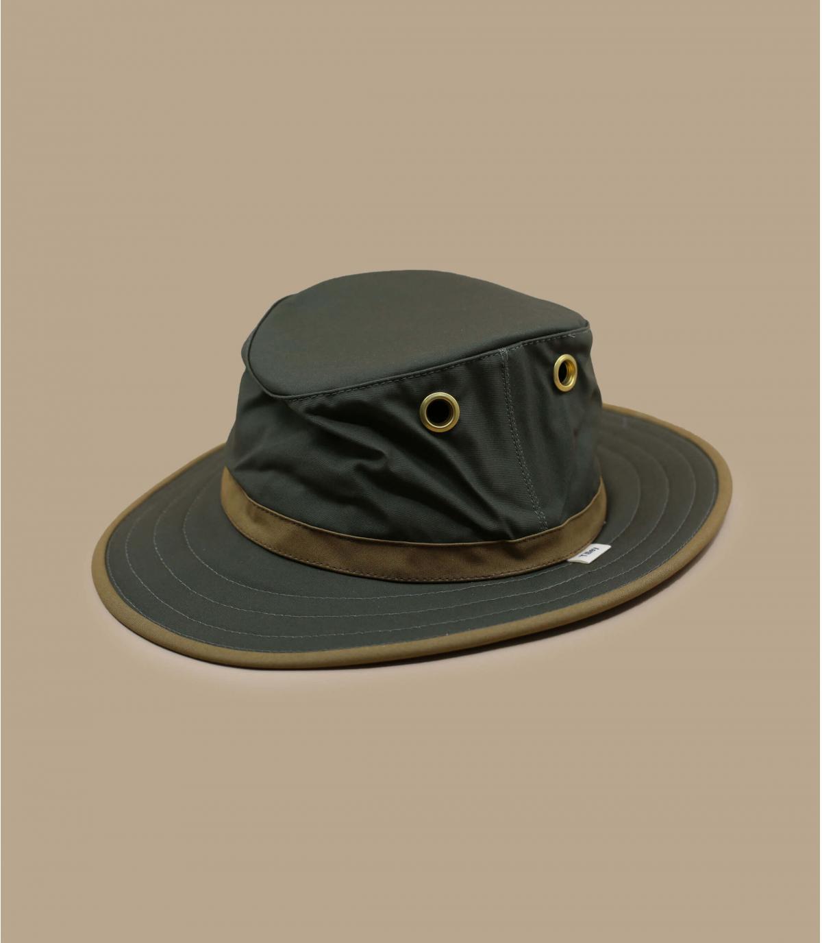 chapeau coton ciré vert