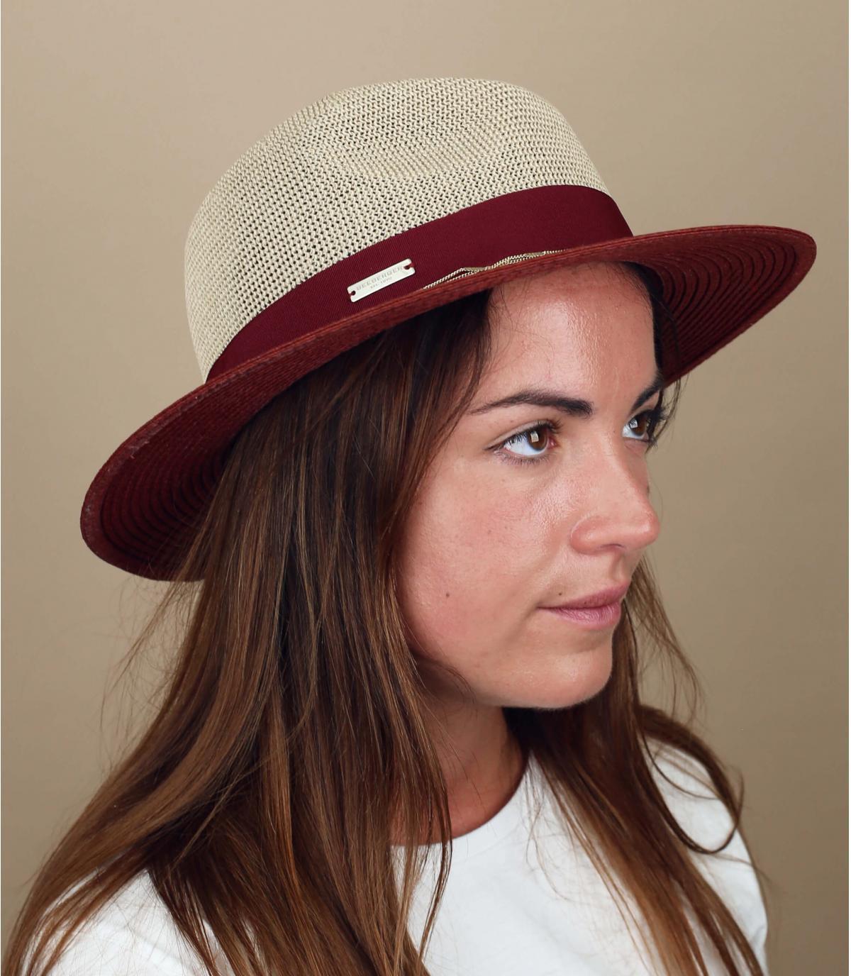 chapeau paille chaine or