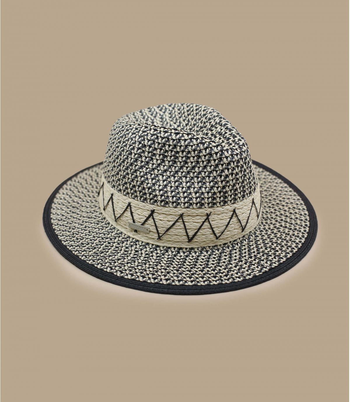 chapeau paille noir blanc