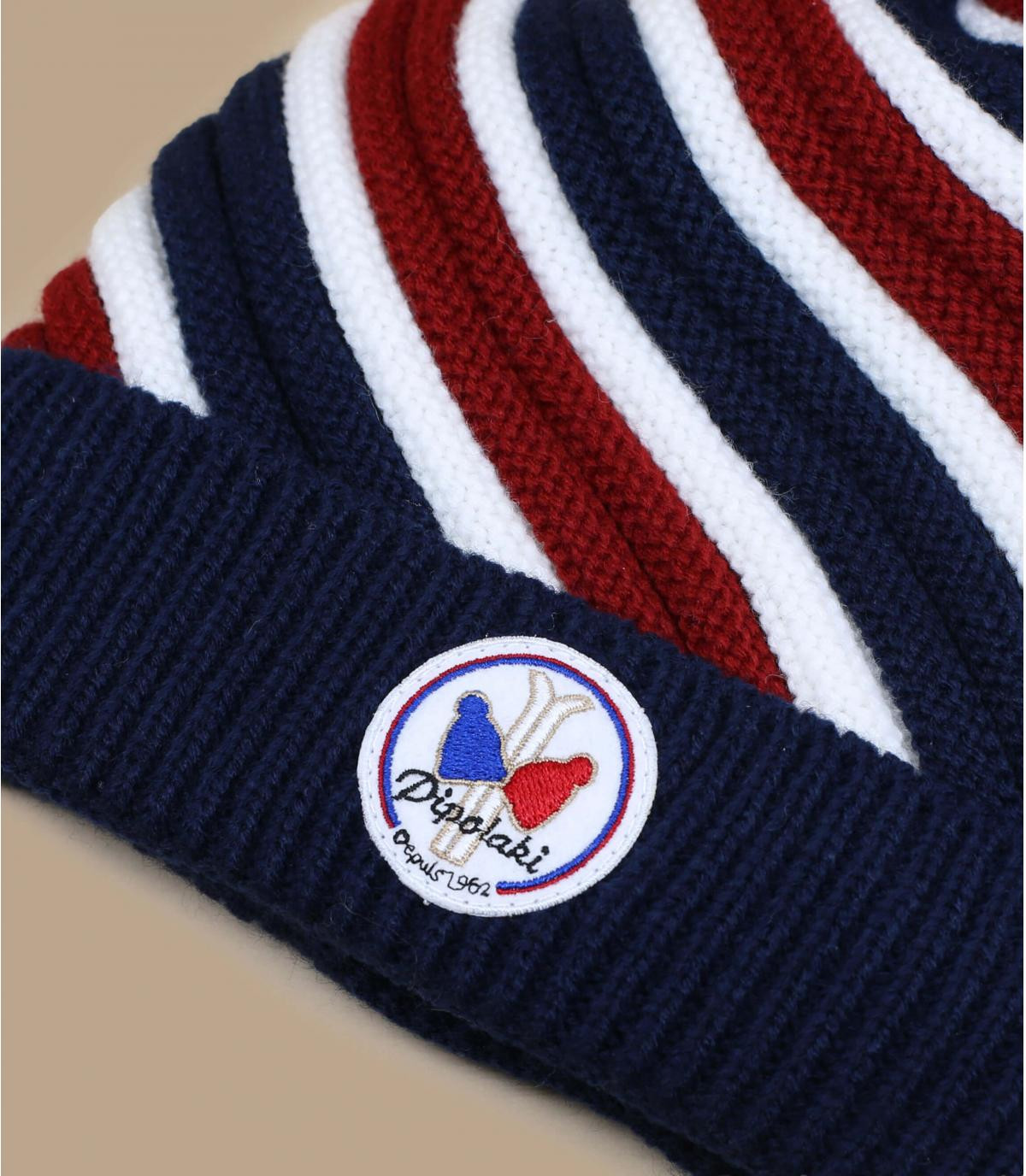 bonnet pompon tricolore