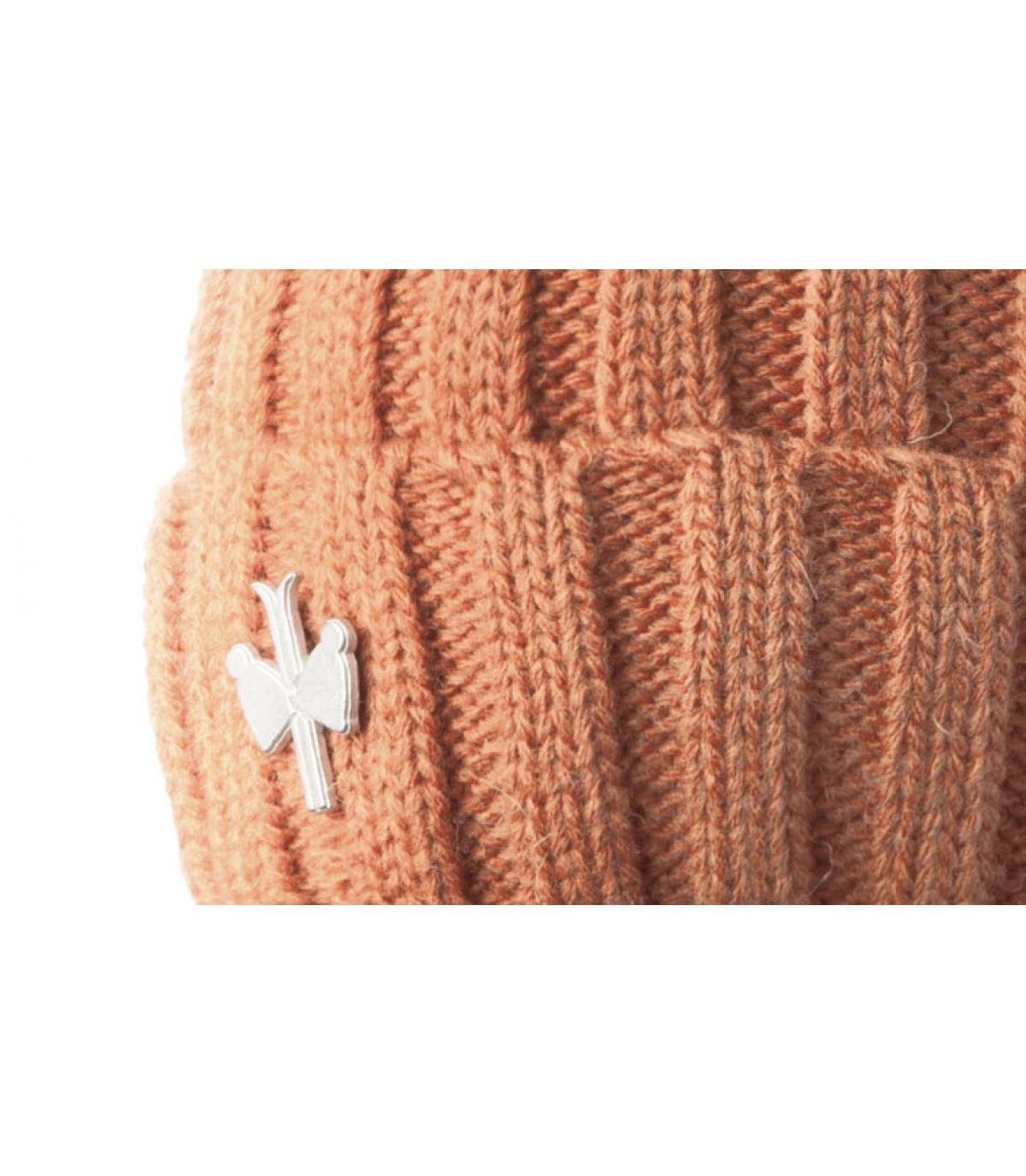 Bonnet pompon fourrure orange