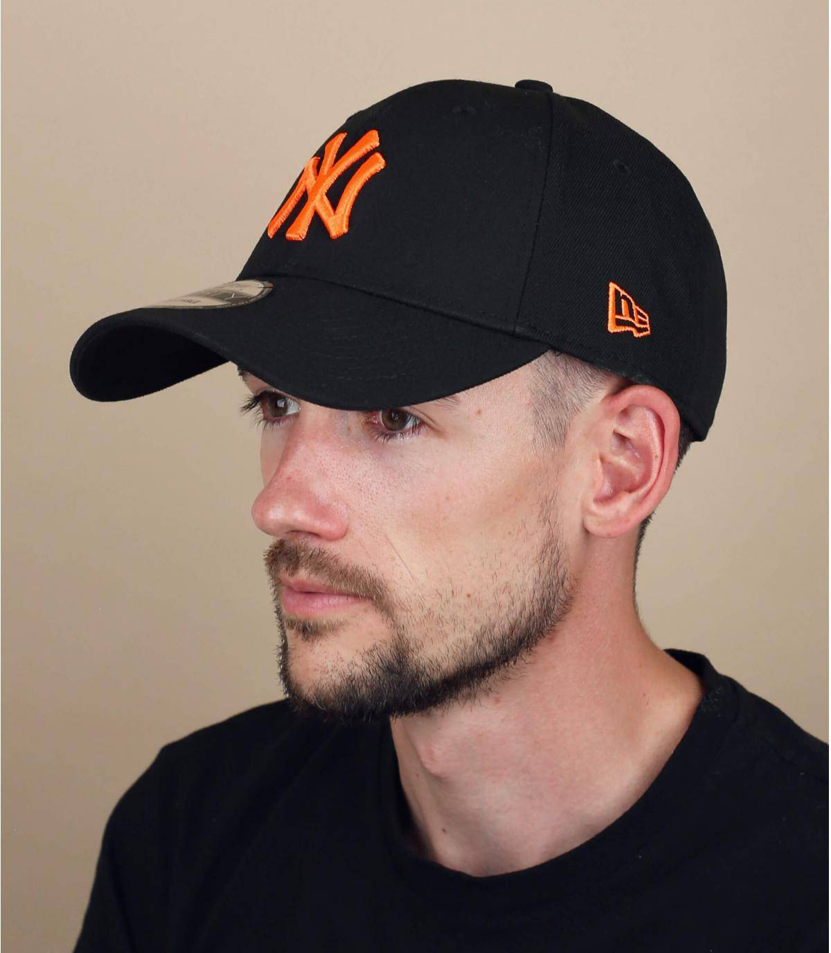 casquette NY noir orange