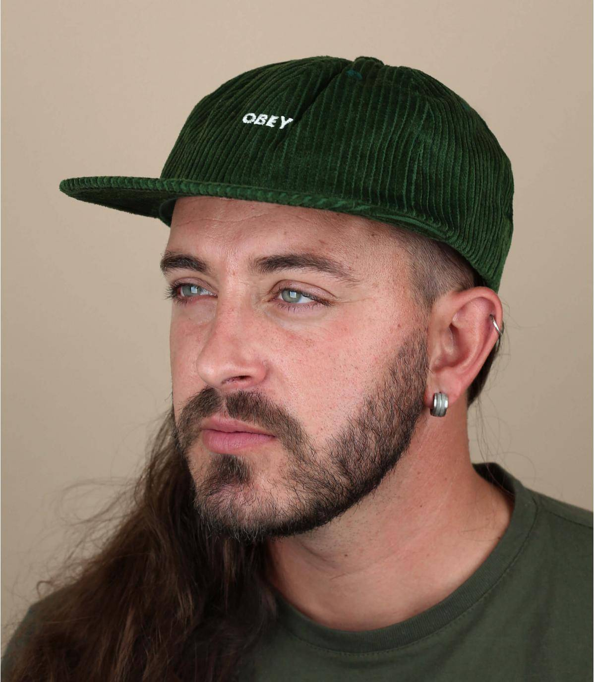 casquette Obey velours vert