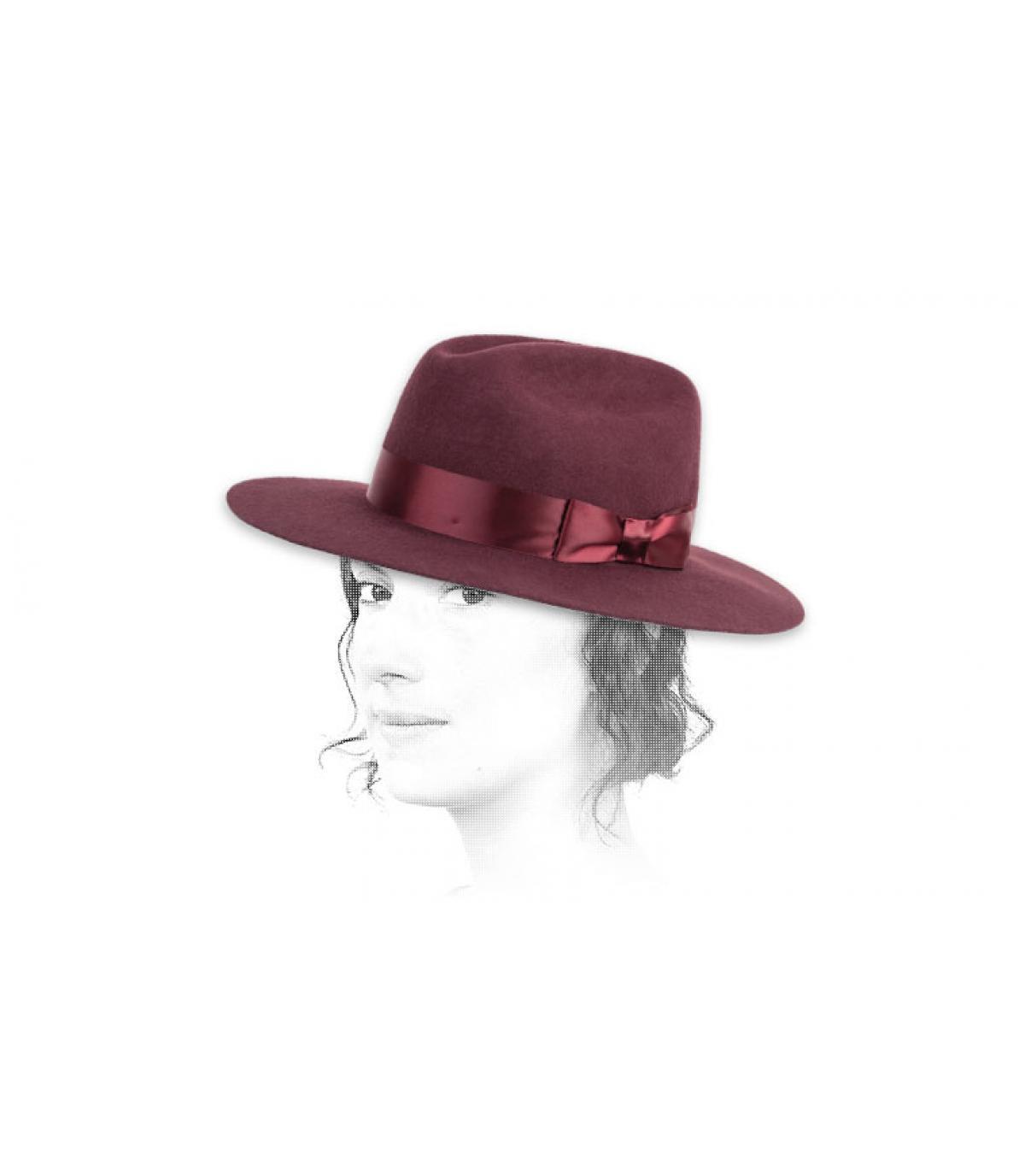chapeau fedora feutre bordeaux