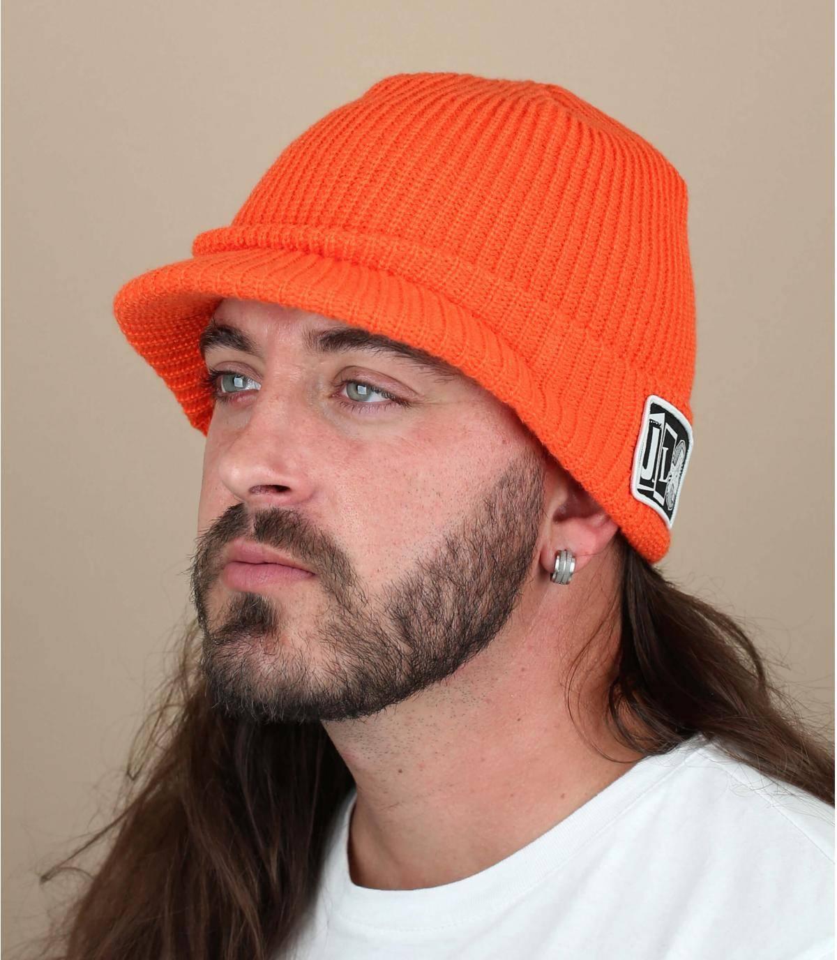 bonnet visière orange