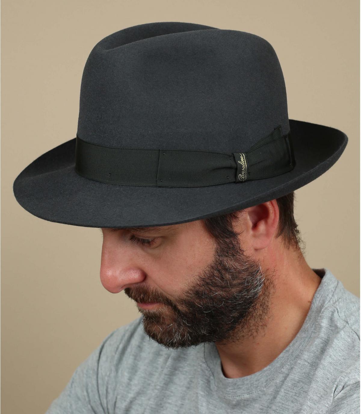 chapeau feutre lapin gris
