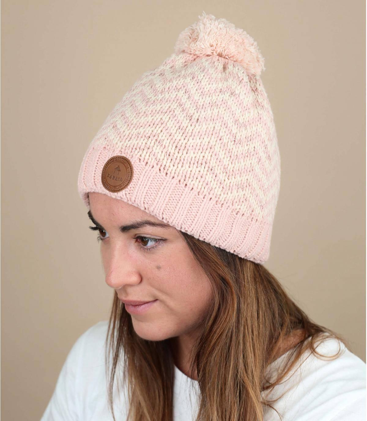 bonnet rose lurex