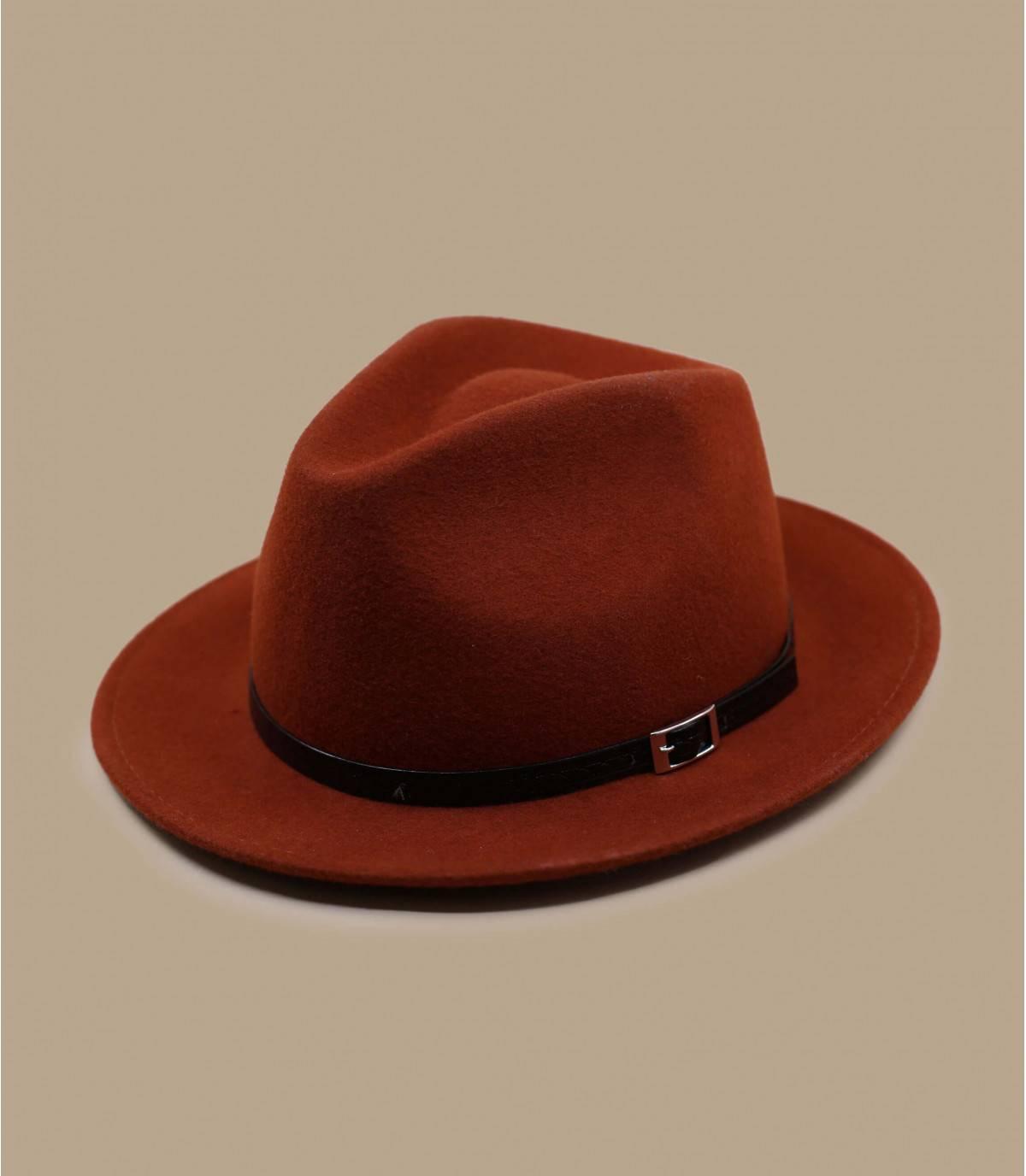 chapeau feutre orange brique