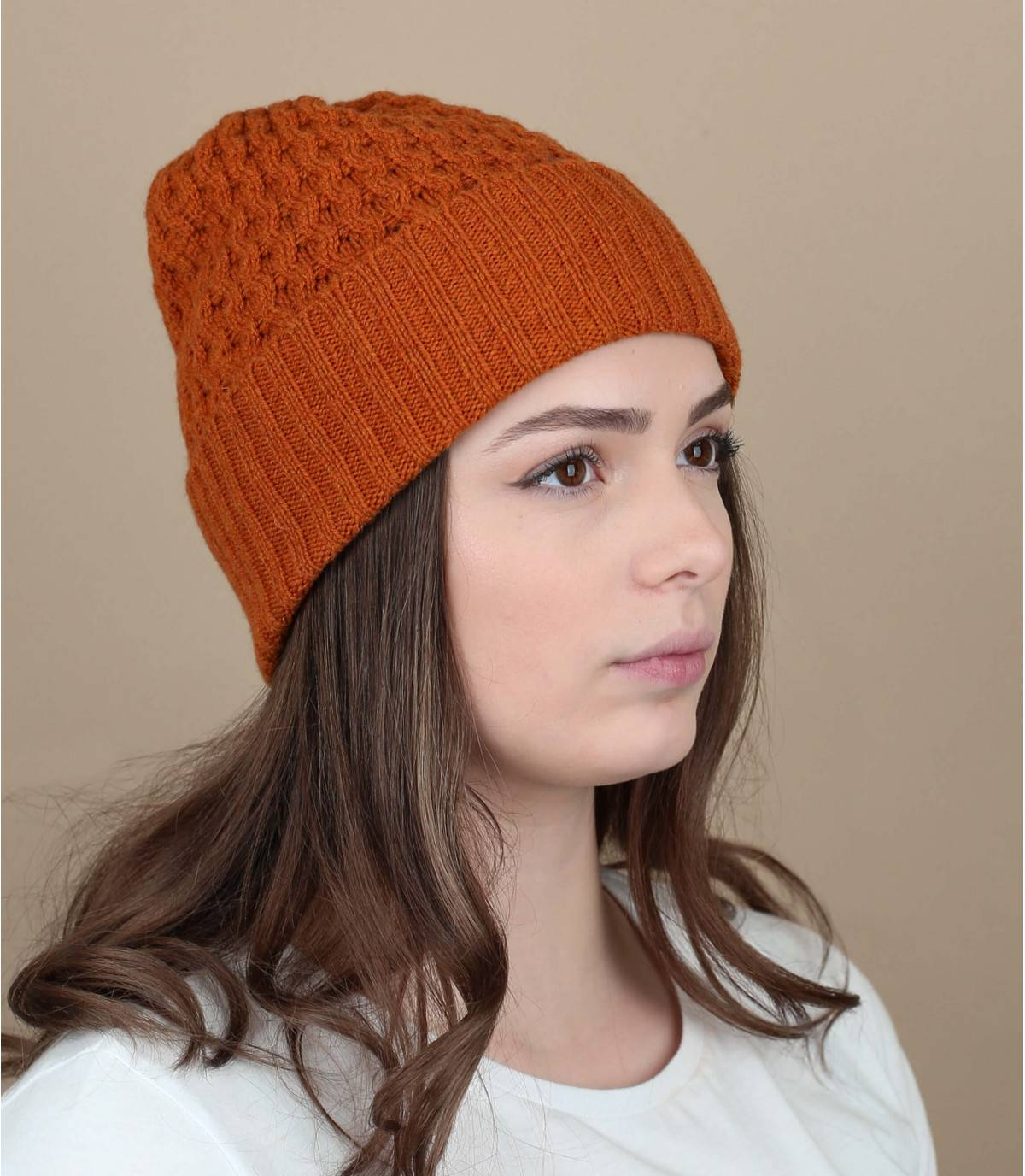 bonnet laine orange