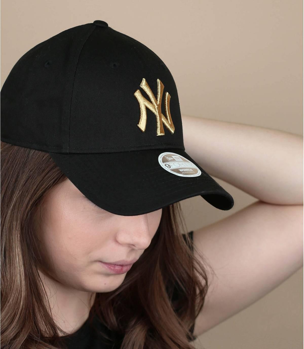 casquette femme noir or