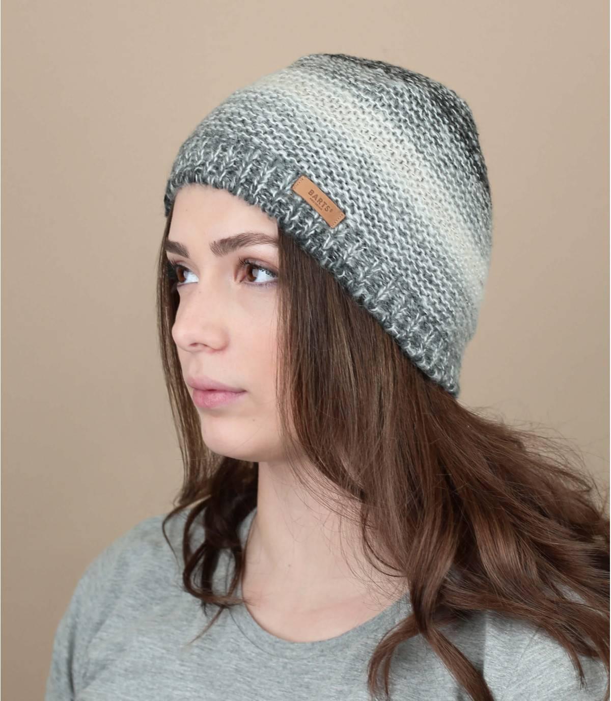 bonnet rayures gris