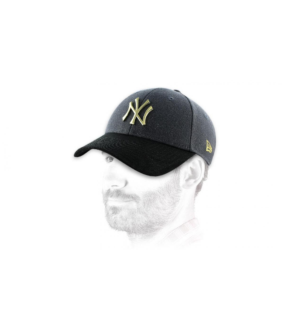 casquette laine ny metal or