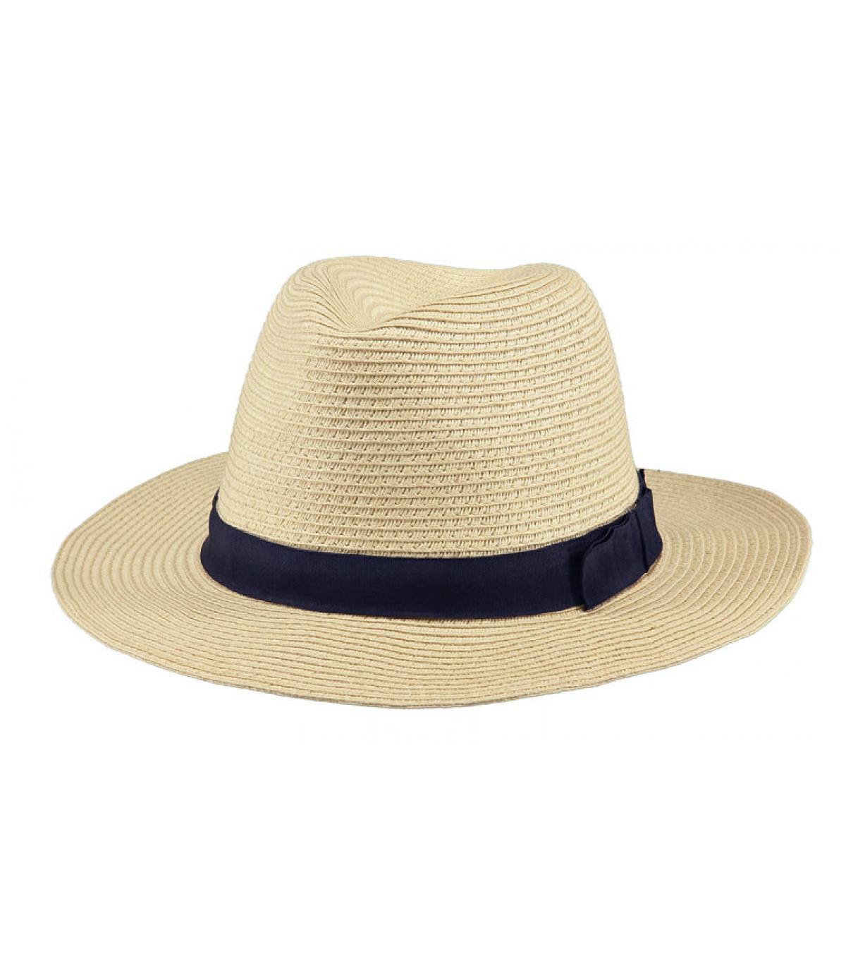 Chapeau paille beige ruban bleu