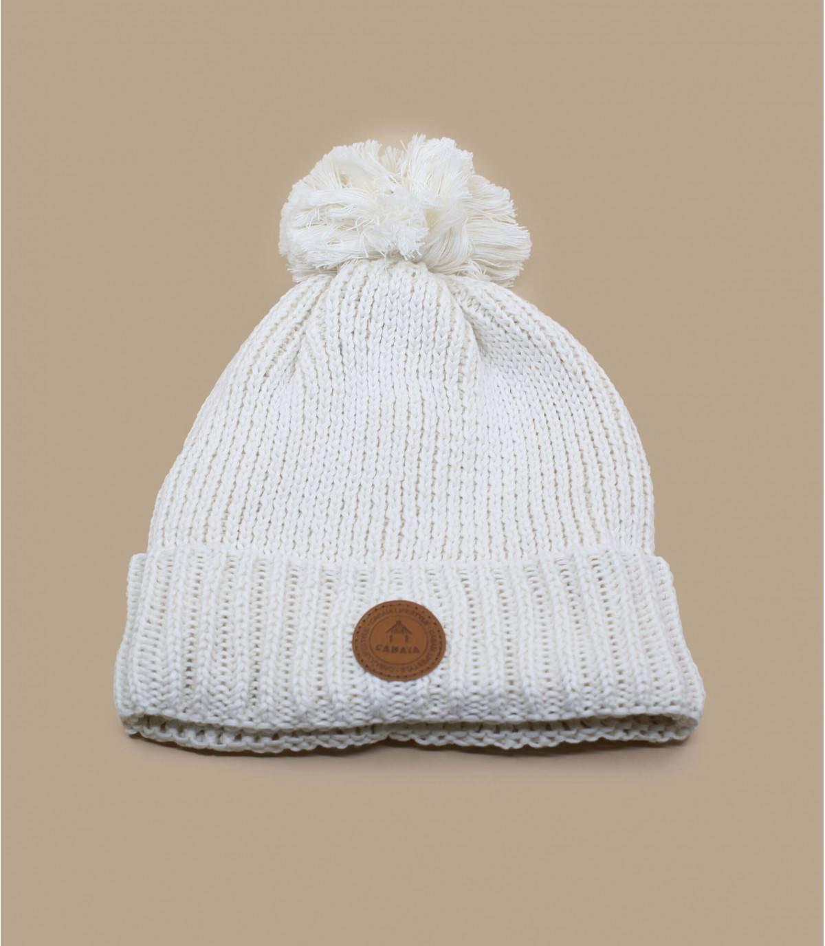 bonnet pompon revers blanc