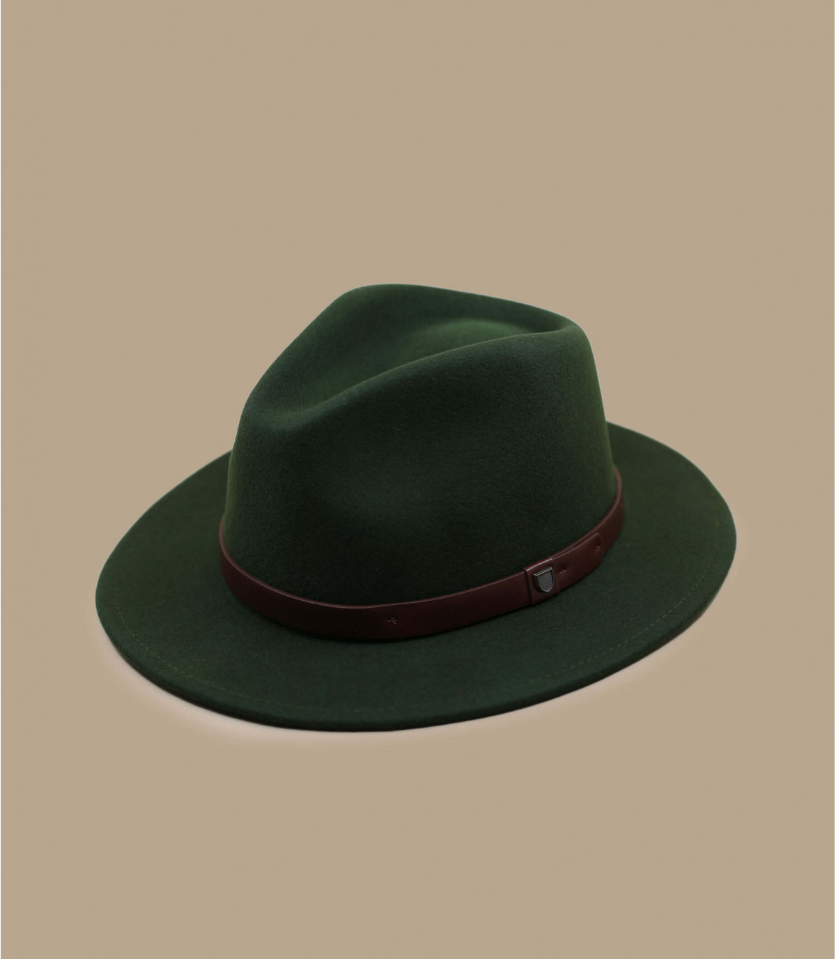 fedora feutre vert bande cuir