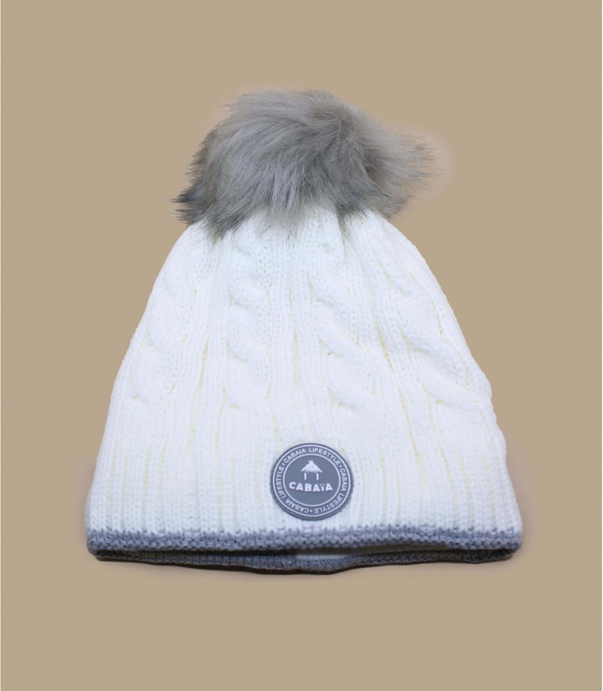bonnet pompons torsade blanc