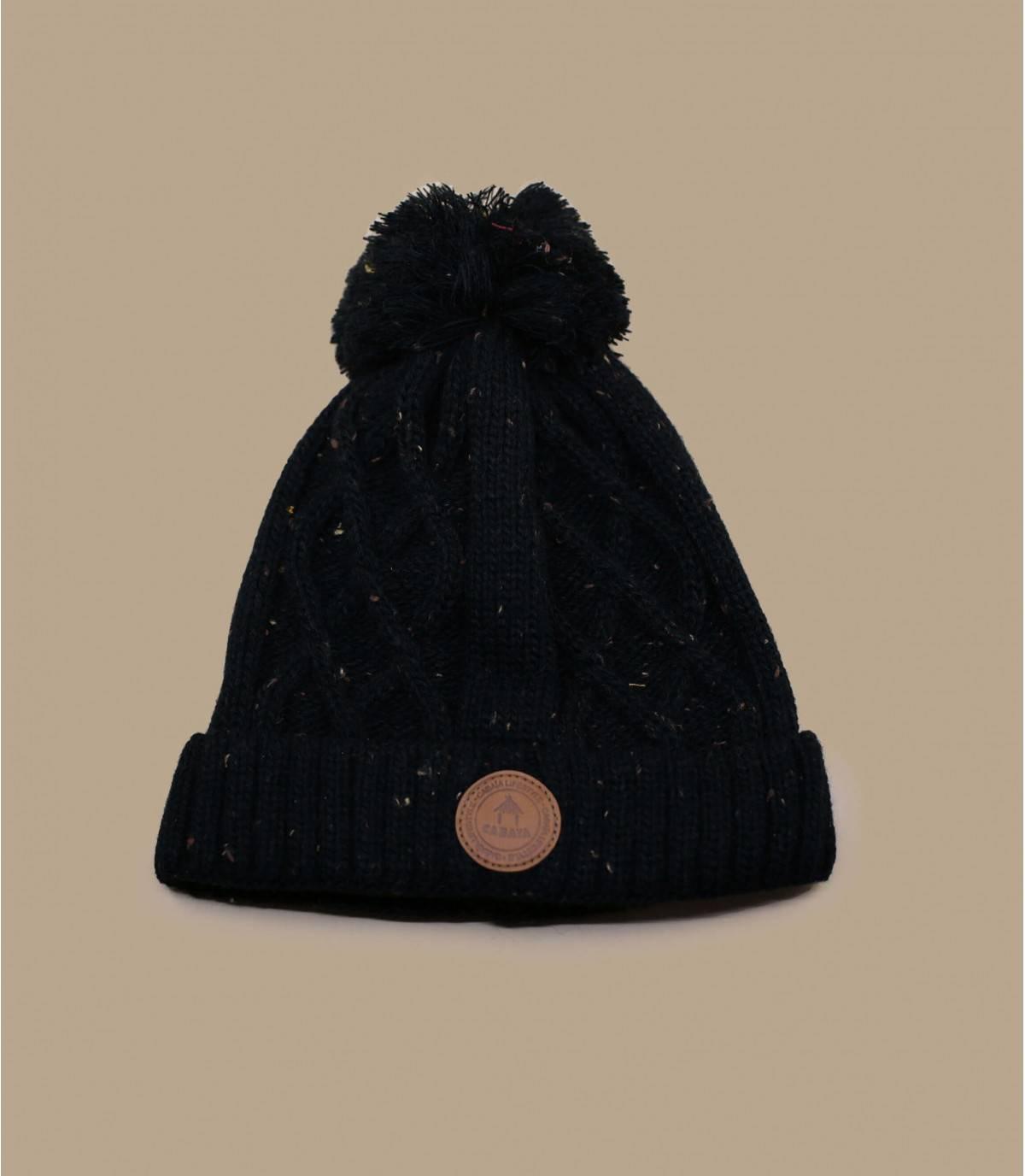 bonnet pompon noir Cabaia