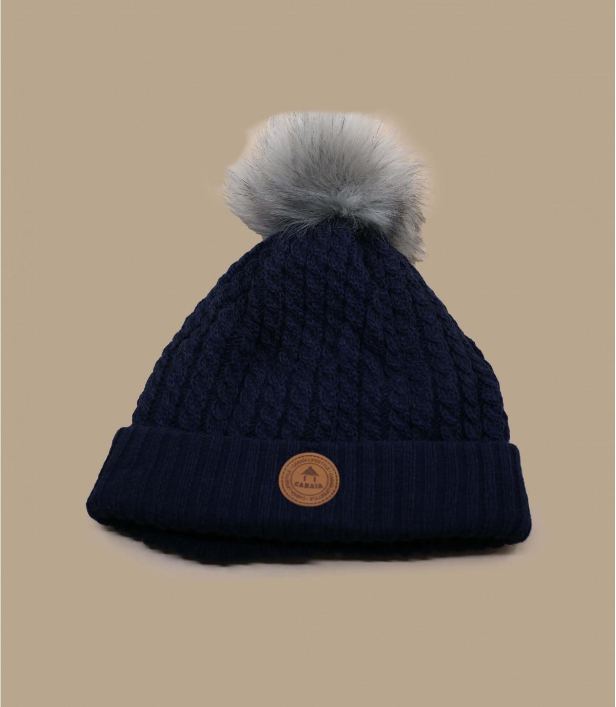 bonnet bleu pompon interchangeable