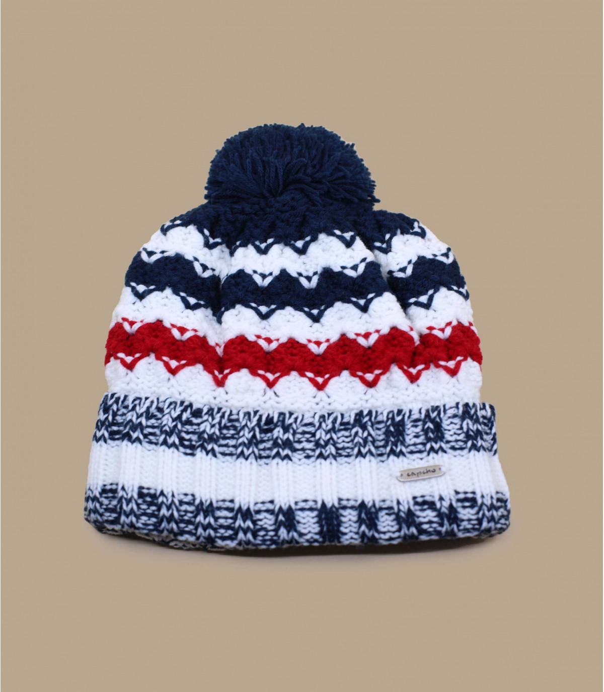 bonnet pompon bleu blanc rouge
