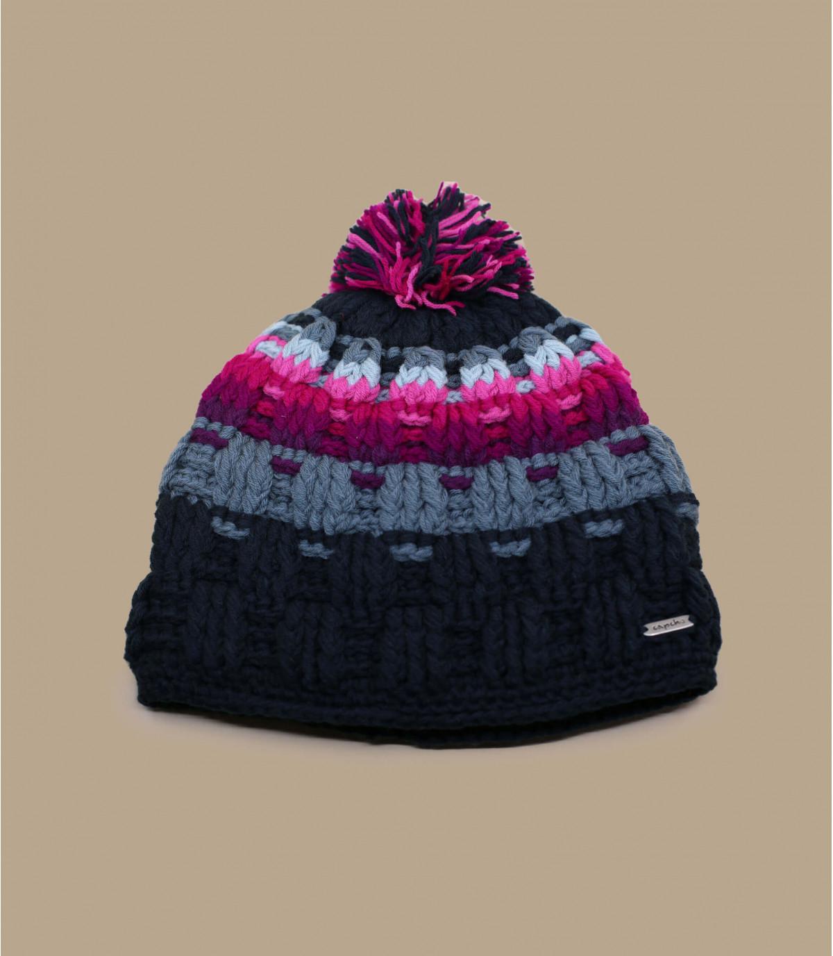 bonnet pompon rayures rose gris