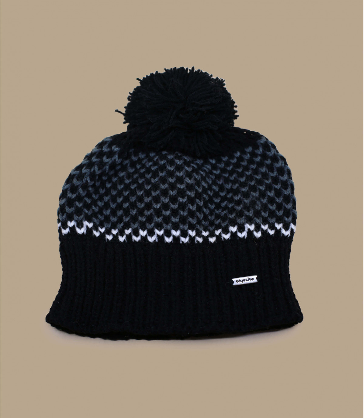 bonnet pompon noir Capcho