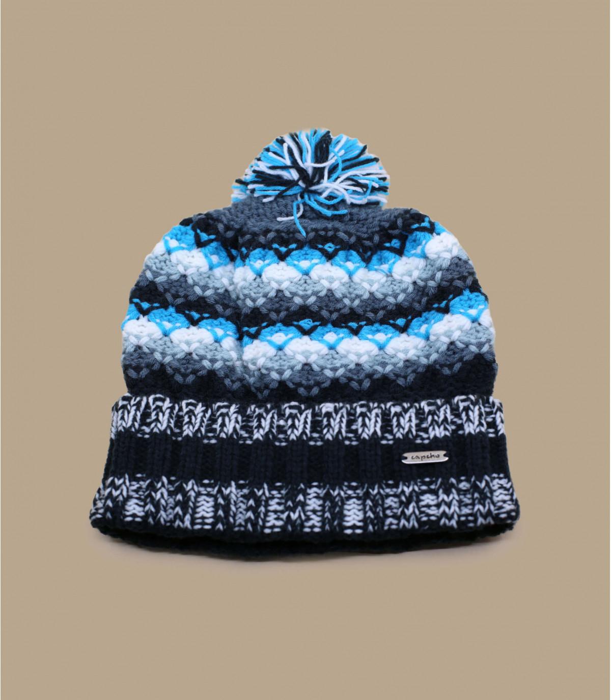bonnet pompon bleu chaud