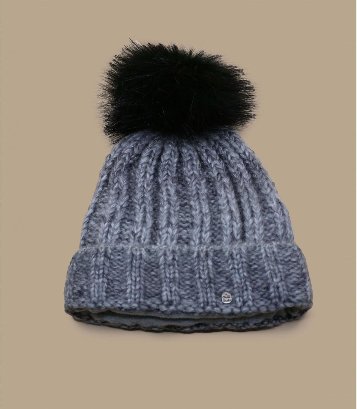 bonnet gris pompon noir