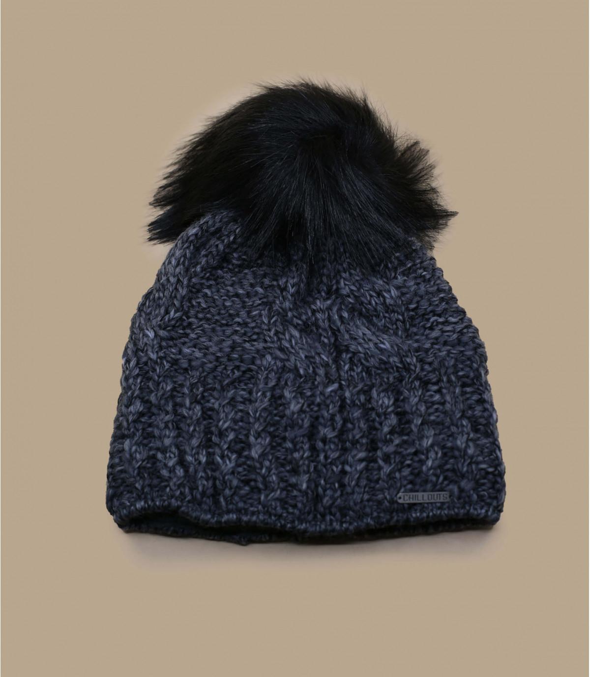 bonnet pompon gris laine