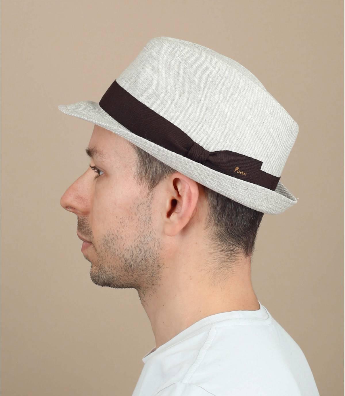 chapeau lin beige Fléchet