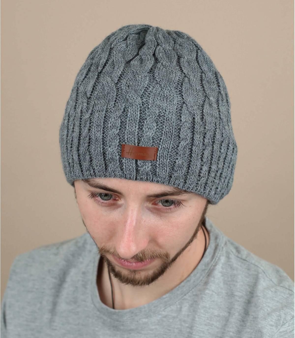 bonnet gris torsade