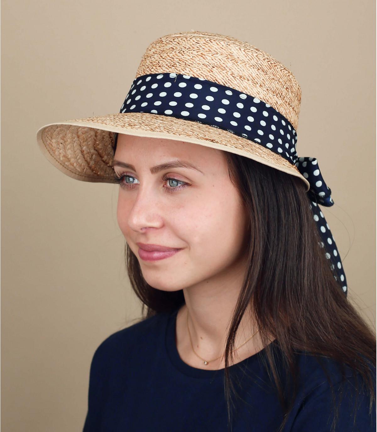 visière paille foulard